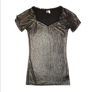 BKE Black Metallic Print Short Sleeve Top Size s